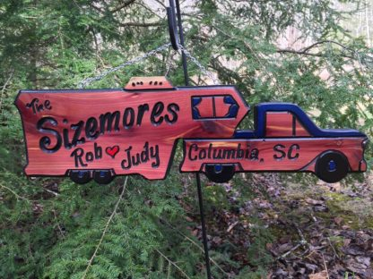 Fifth Wheel Camper and Truck Wood Sign