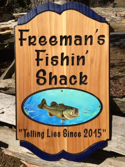 Bass Fishing Shack Sign - Father's Day Gift Idea