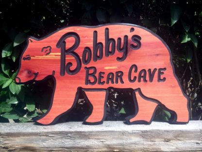 Bear Shaped Custom Carved Wood Sign - Wooden Signs Made to Order