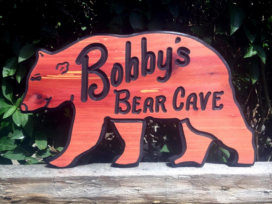 Walking Bear Wood Sign