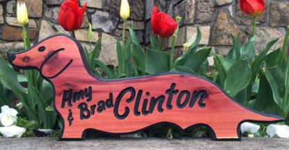 Weiner Dog Sign - Dachshund Shaped Wooden Sign