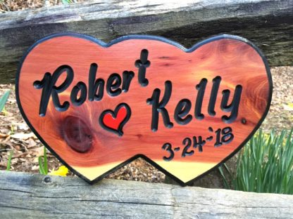 Custom Carved Wood Signs - Double Heart Shaped Wooden Sign