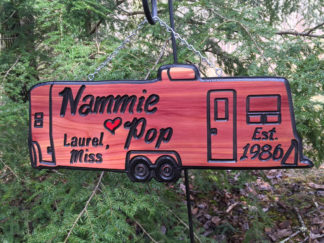 Engraved Wood Signs - Custom Pull Behind Camper Sign