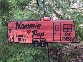 Engraved Wood Signs - Custom Pull Behind Camper Sign