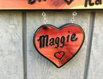 Small Heart Sign - Heart Shaped Custom Hanging Wood Sign