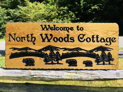 Personalized Cabin Signs - Wooden Cottage Sign Custom Carved for Outdoors or Indoors