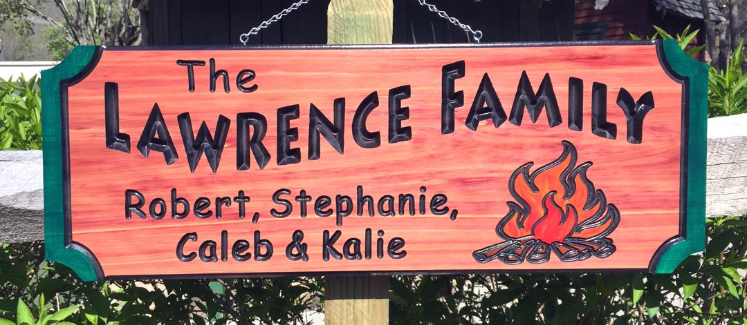 Lawrence Family With Campfire Wood Sign