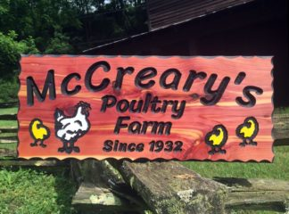 Custom Farms Signs - Cute Chicken Clipart Wooden Farm Sign