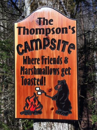 Outdoor Wood Signs for Home, Yard, Barn - Custom Campsite Sign with Black Bear