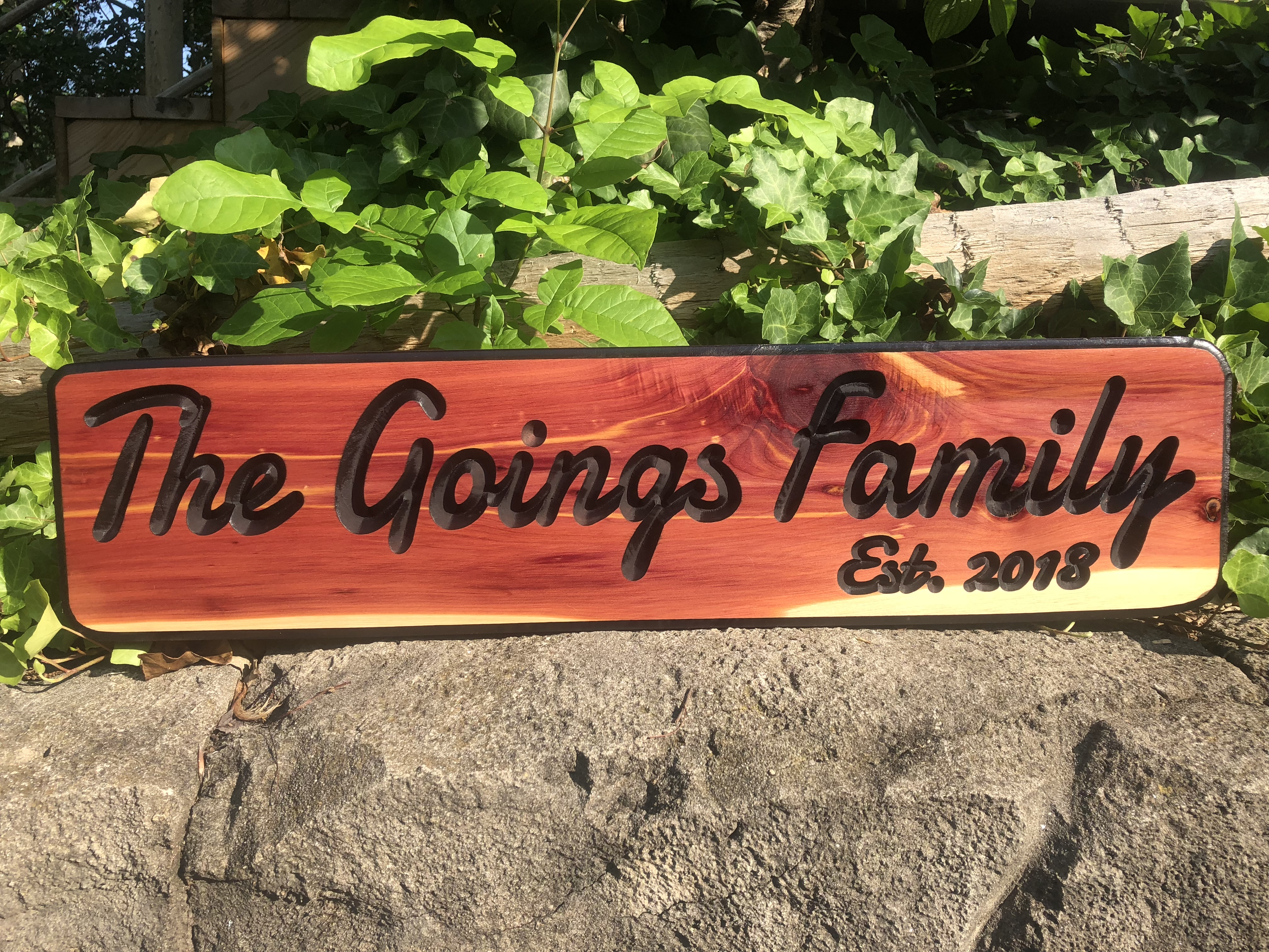 Goings Family Engraved Wood Sign