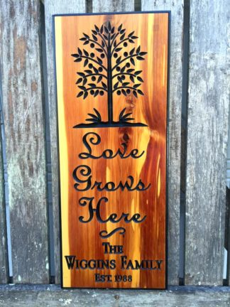 Love Grows Here Personalized Wooden Sign