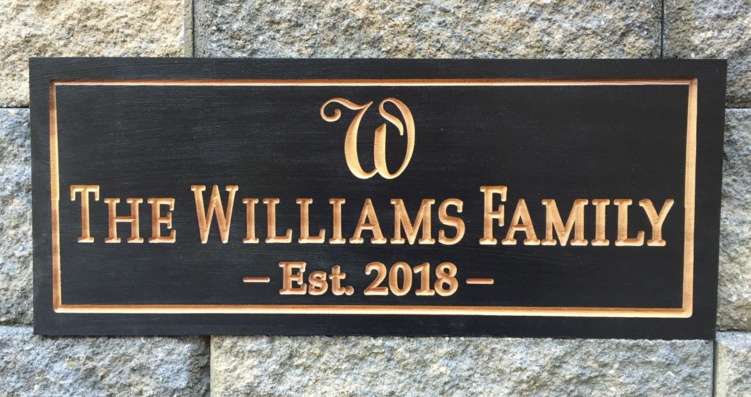 Black Williams Family Wood Sign