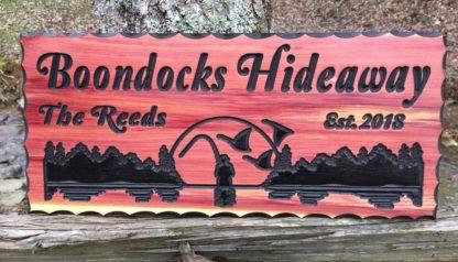 Boondocks Hideaway Wood Sign- BLACK