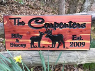 Carpenters with Deer Wood Sign